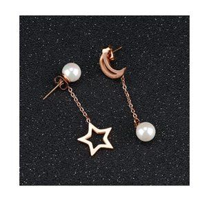 Star Moon Gold Drop Earrings